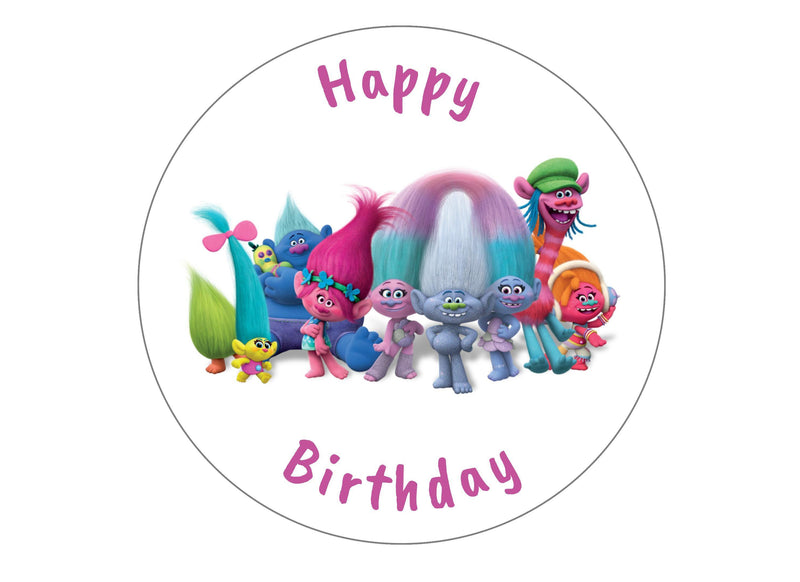 "7.5"" printed edible cake topper with Trolls image"