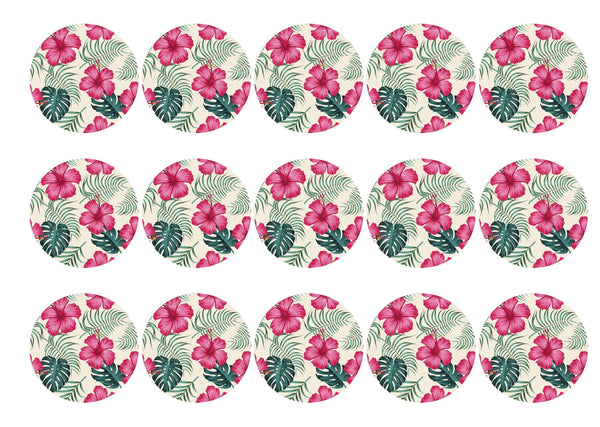 15 printed cupcake toppers with tropical hot pink hibiscus and green monstera leaves