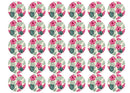 30 edible cupcake toppers with tropical hot pink hibiscus and green monstera leaves
