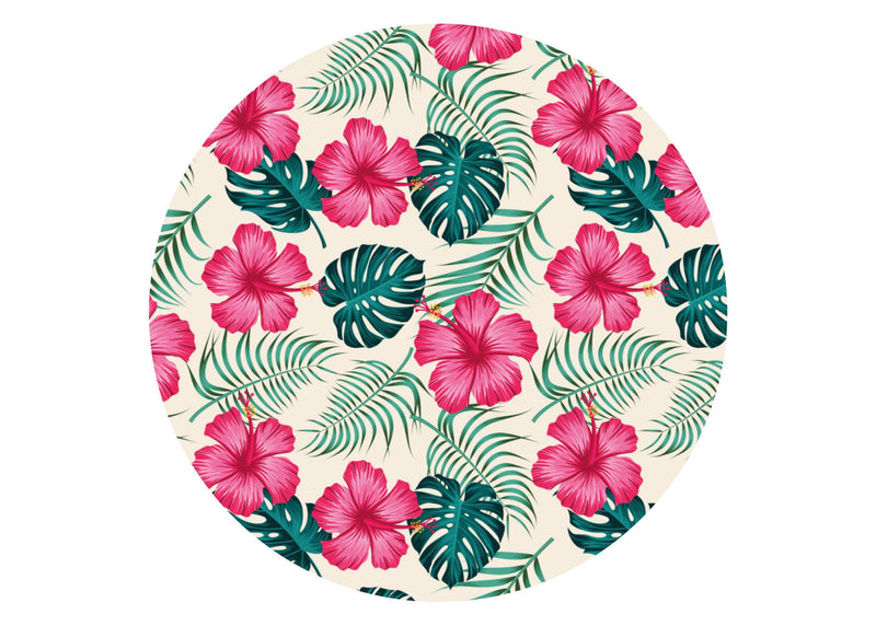 Large round edible cake topper with tropical hot pink hibiscus and green monstera leaves
