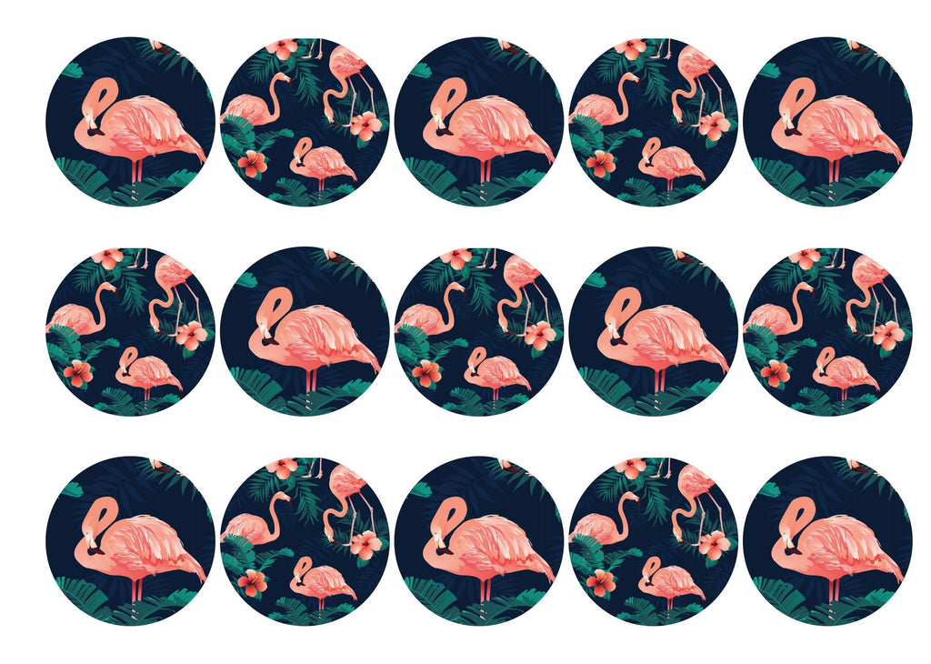15 printed toppers with a pink tropical flamingo design