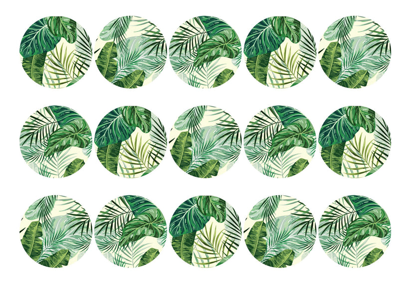 15 printed toppers with a tropical leaf design