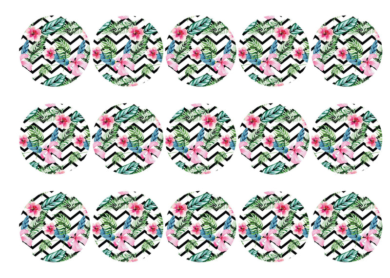 15 printed cupcake toppers with a tropical chevron pattern