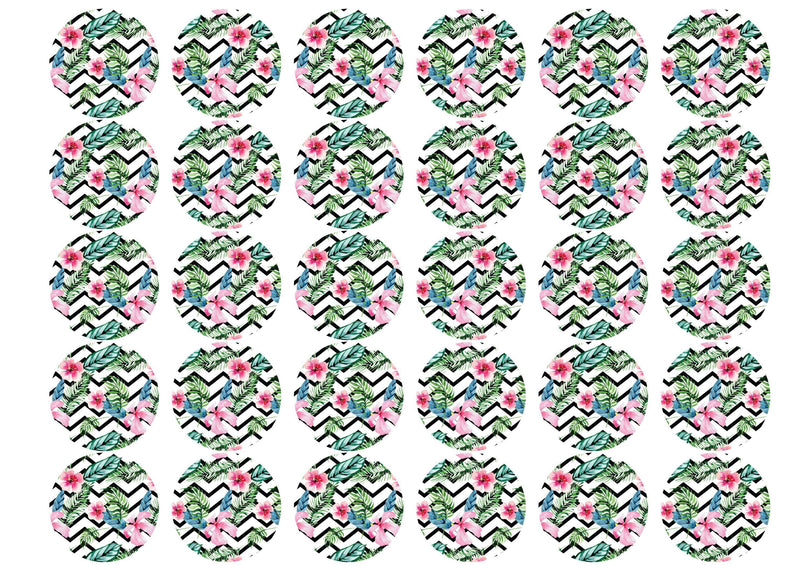 30 edible cupcake toppers with a tropical chevron pattern