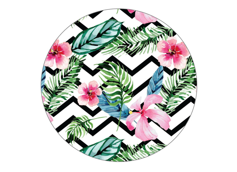 Large round cake topper with a tropical chevron pattern