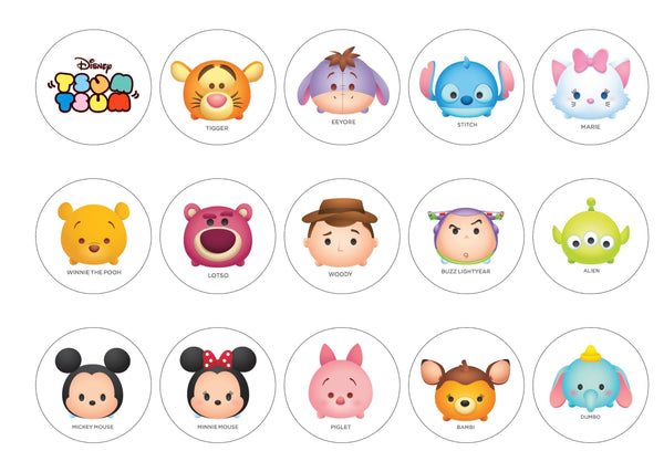 Edible printed cupcake toppers with Disney Tsum Tsums