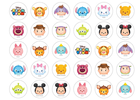 Printed cupcake toppers with a variety of Disney Tsum Tsum images