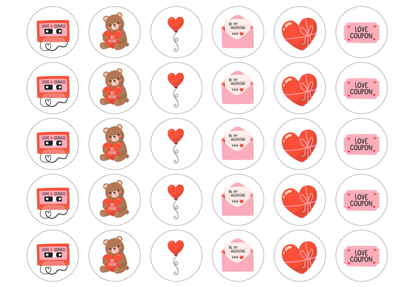 Valentines Icons-Edible cake toppers-Edibilis