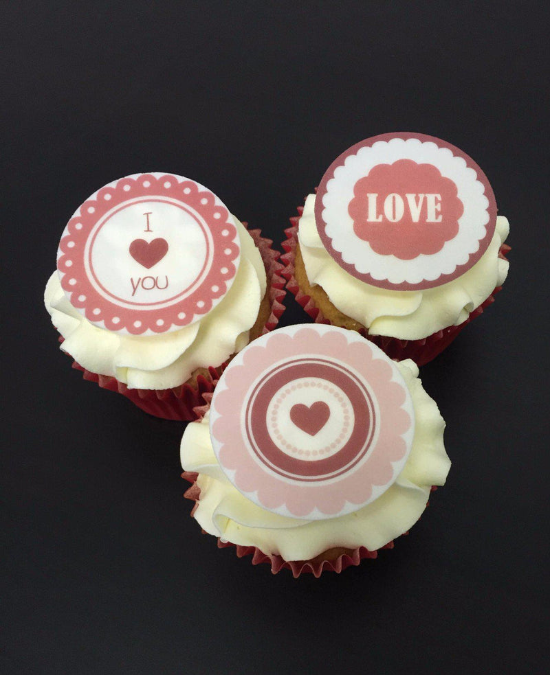 Printed cupcake toppers with mixed valentines images