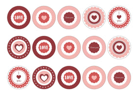 Edible cupcake toppers with mixed valentines images