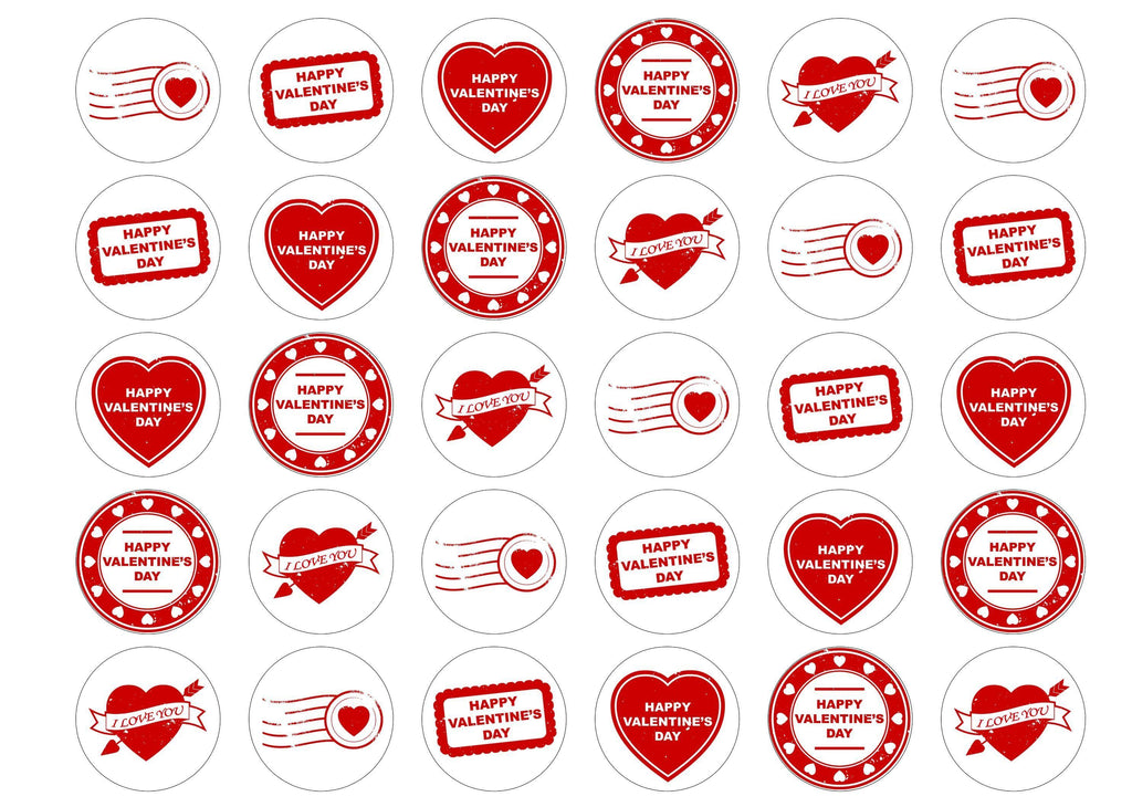 Printed edible cupcake toppers for valentines day