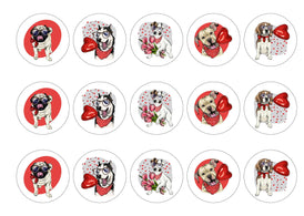 15 cupcake toppers with printed valentine dog designs