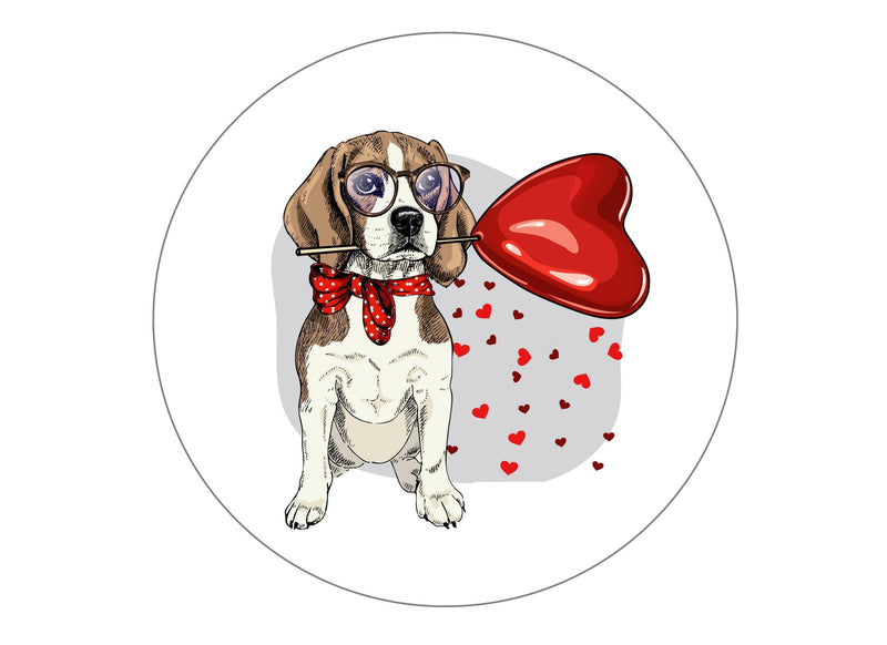 large cake topper with valentine dog illustration