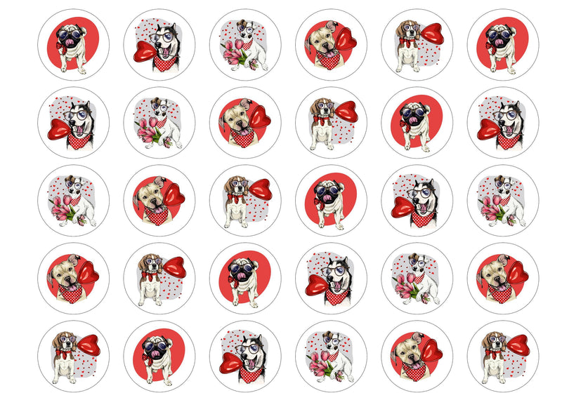 30 edible toppers with valentines doggo prints