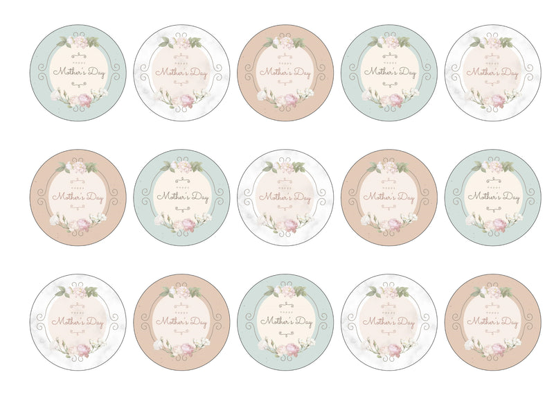 Printed cupcake toppers with a vintage theme for Mother's Day