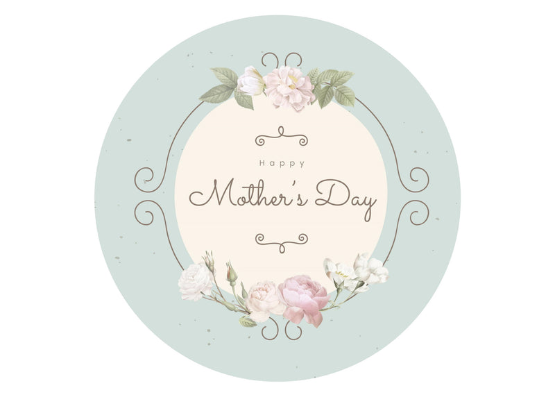Large printed cake topper with a vintage theme to wish a Happy Mother's Day