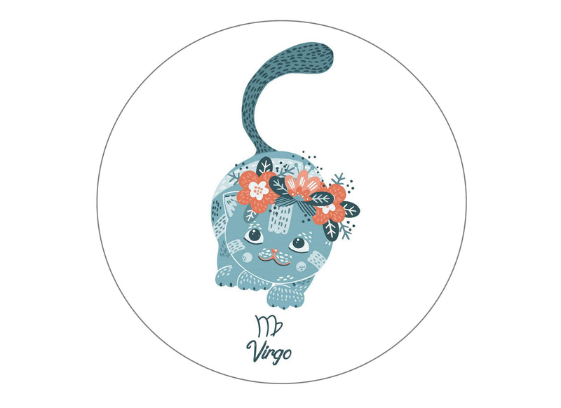 round printed cake topper with cute cats symbolising Virgo the Maiden Star Sign