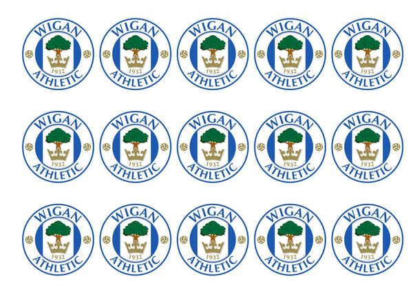 Printed cupcake toppers with the Wigan Athletic football badge