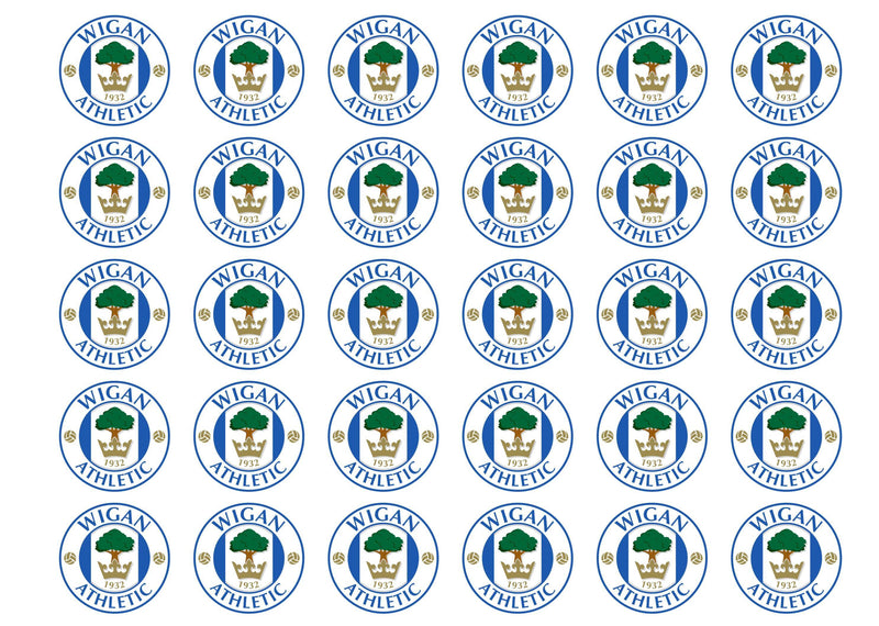Edible cupcake toppers with the Wigan Athletic football badge