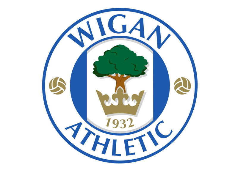 Large cake topper with the Wigan Athletic football badge