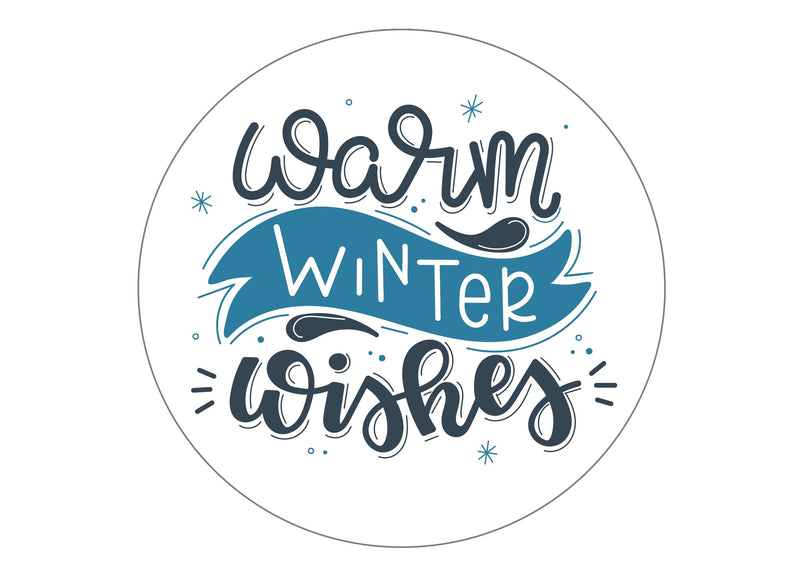 Large cake topper with a Warm Winter Wishes slogan