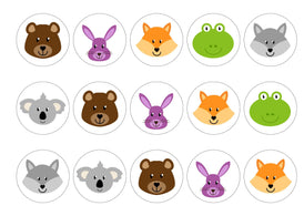 Printed edible cupcake toppers with woodland animals