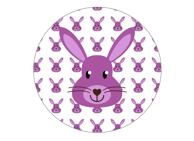 Printed edible birthday cake topper with purple rabbit