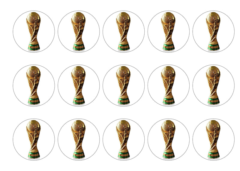 15 printed cupcake toppers with a picture of the FIFA World Cup Trophy