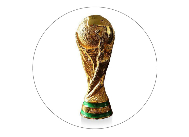 190mm round cake topper with a picture of the FIFA World Cup Trophy