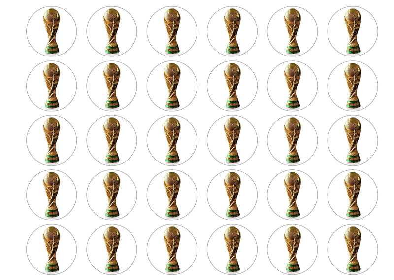 30 edible cupcake toppers with a picture of the FIFA World Cup Trophy