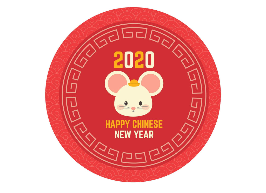 Large printed cake topper celebrating 2020 - the Year of the Rat for Chinese New Year