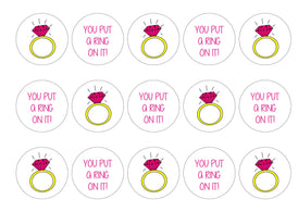 Printed engagement cupcake toppers