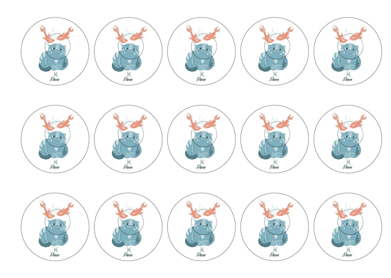 15 printed cupcake toppers with cute cats symbolising Pisces the Fish Star Sign