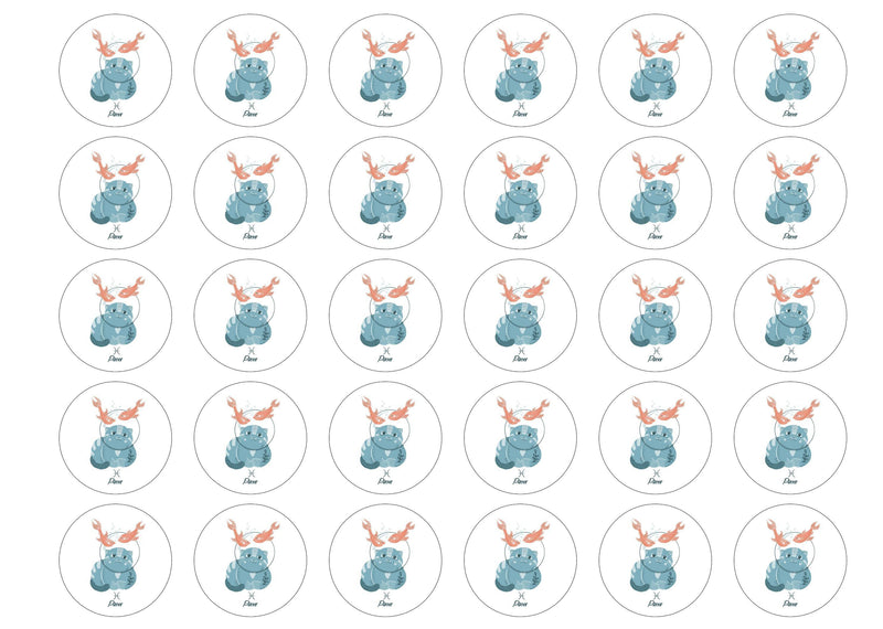 30 edible cupcake toppers with cute cats symbolising Pisces the Fish Star Sign