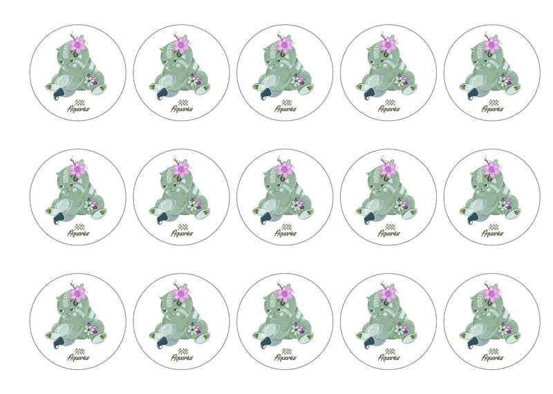 15 printed cupcake toppers with cute cats symbolising Aquarius the Water Bearer Star Sign