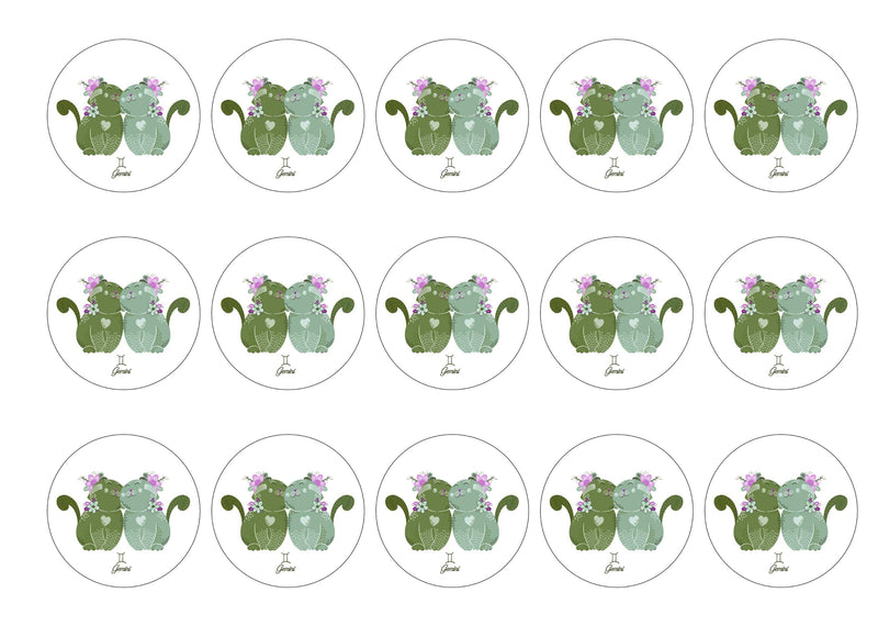 15 printed cupcake toppers with cut cats symbolising Gemini the Twins Star Sign