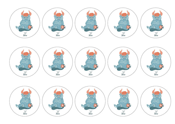 15 printed cupcake toppers with cute cats symbolising Taurus the Bull Star Sign