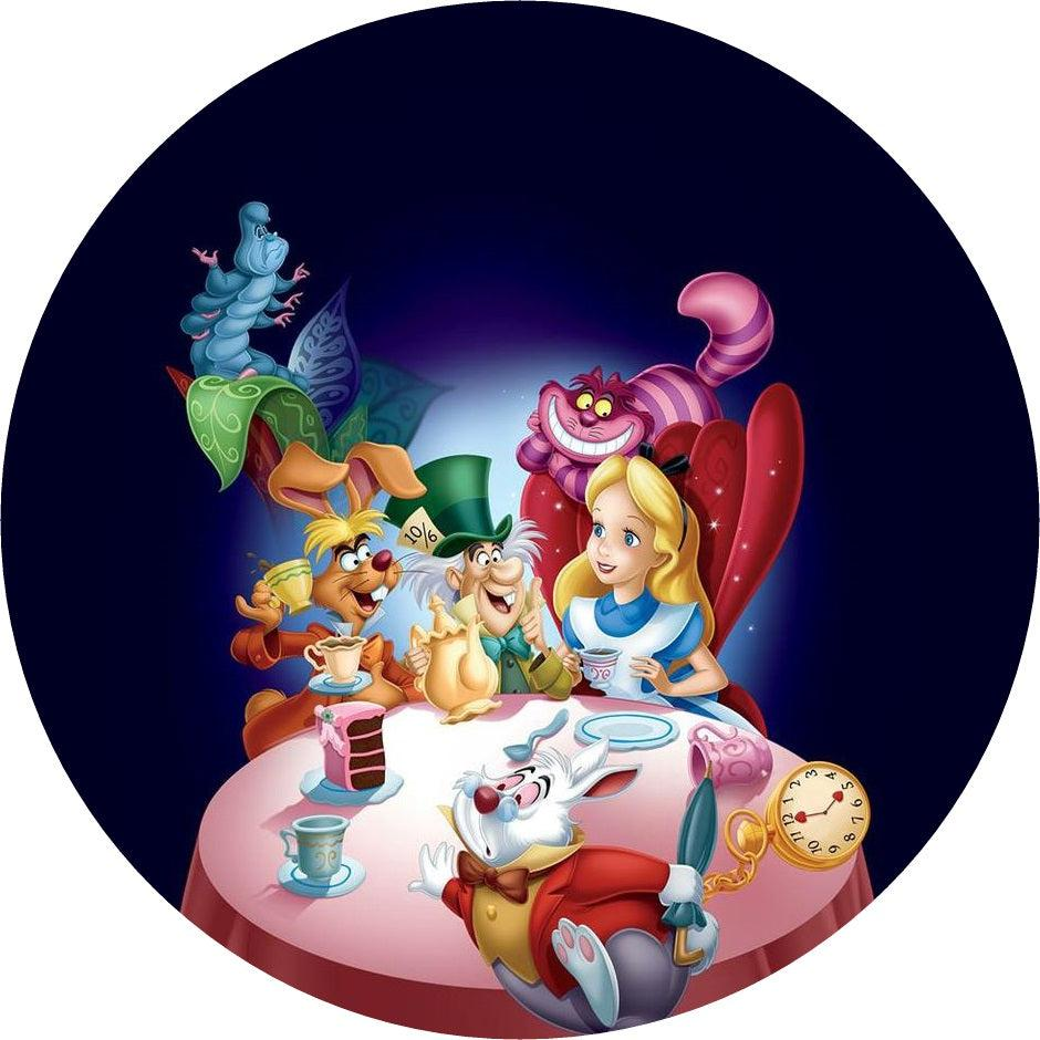 "Large 7.5"" cake topper printed on icing or rice paper with images from the Disney Film Alice in Wonderland"