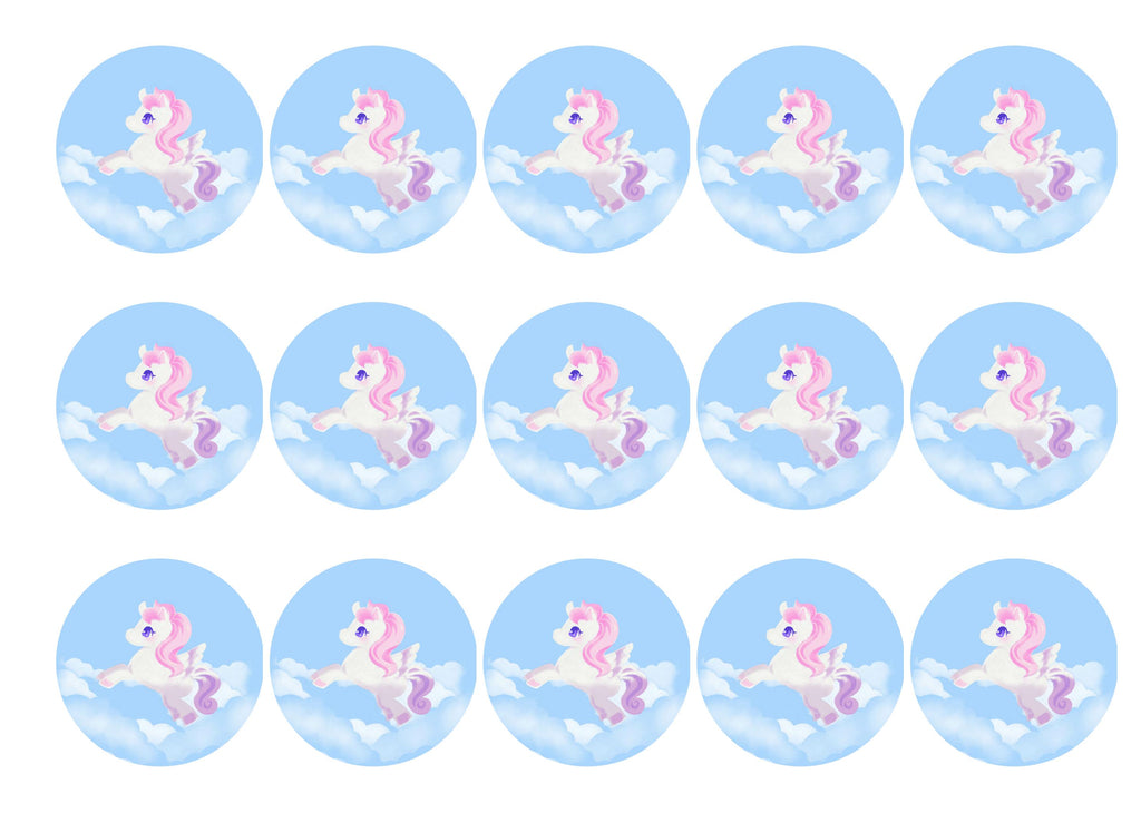 15 printed toppers with a Pegasus image