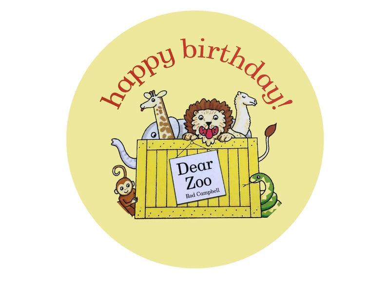 "Large printed edible cake topper for 8"" Dear Zoo cake"