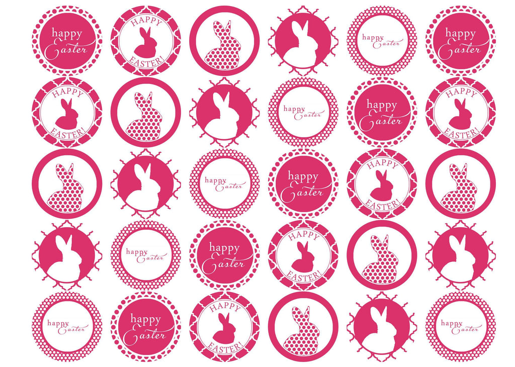 30 edible cupcake toppers with easter bunny designs in hot pink