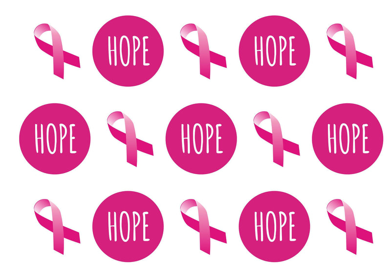 15 printed toppers with the pink ribbon and hope for breast cancer