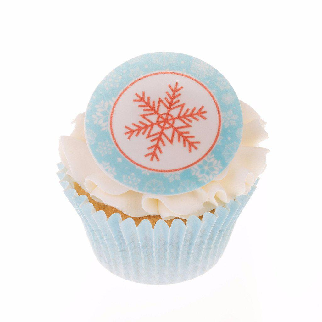 Edible Christmas Snowflake cake toppers and cupcake toppers printed onto rice paper or icing