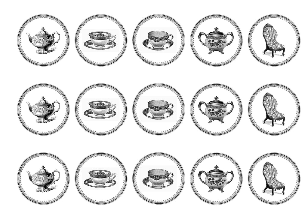 15 printed cupcake toppers with teatime images