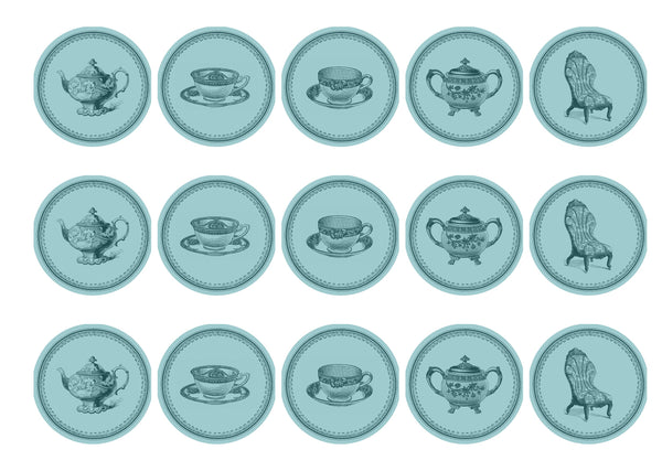 15 printed cupcake toppers with blue teatime images
