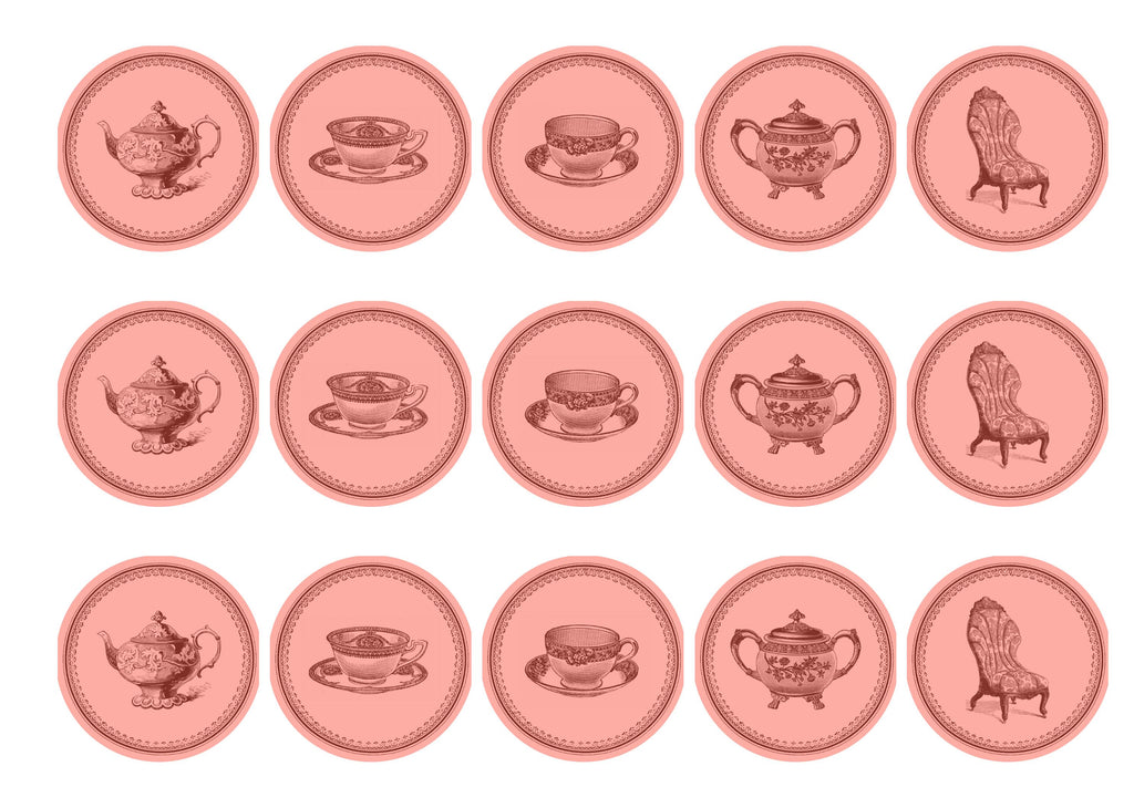 15 printed cupcake toppers with pink teatime images
