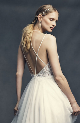 bare back wedding dress with lace BHLDN