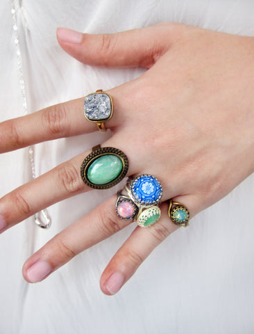 rings by jewelsalem, fire opal rings, mint green ring, blue tile ring