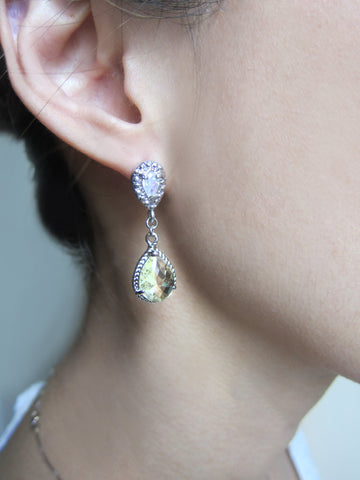 elegant sterling silver rhinestone earrings, wedding jewelry