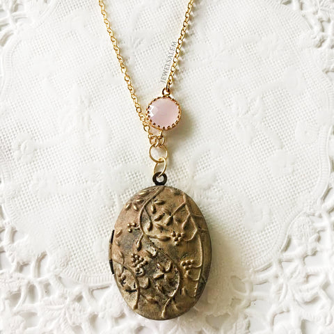 ivory locket with pink glass stone, layered necklace